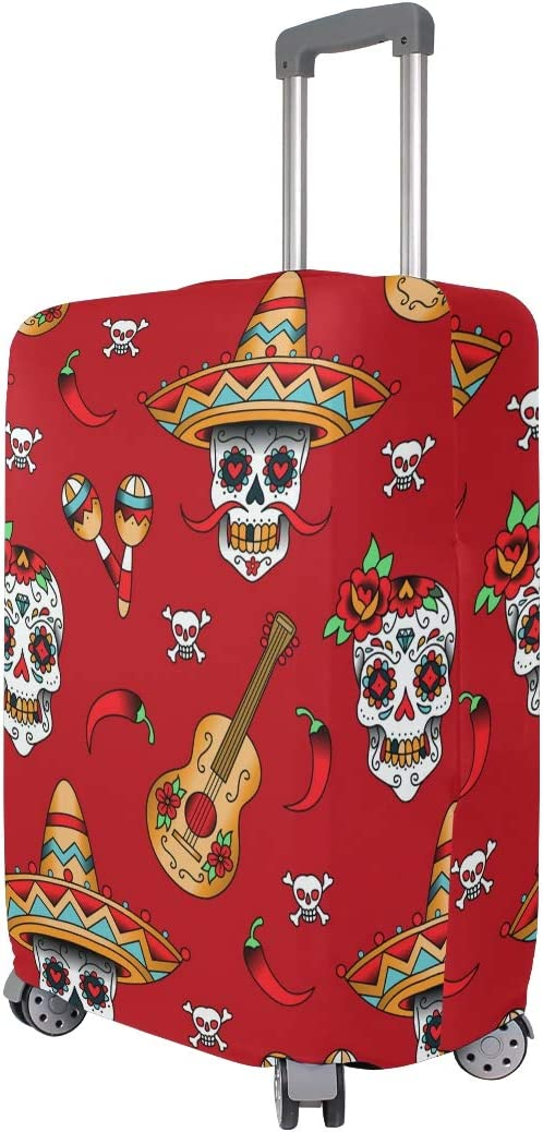 ALAZA Luggage Protector,Mexican Sugar Skulls With Chili Pepper Elastic Travel Luggage Suitcase Cover,Washable and Durable Anti-Scratch Case Protective Cover for 18-32 Inches