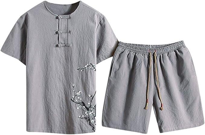 Tonsi_Pantalon Conjunto Hombre Lin Short y Teeshirt 2019 Chándal ...