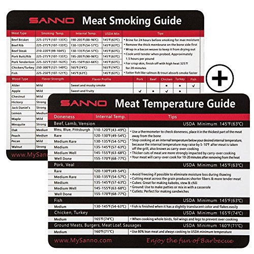 SANNO Magnetic Meat Smoking and Temperature Guide, Barbecue Grilling Accessories, Magnets for BBQ Grill, Smoker or Refrigerator, Outdoor Chart of All Food For Kitchen Cooking(set of ()