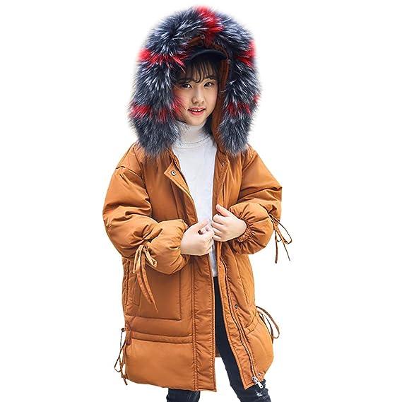 LSERVER Abrigo Acolchado Suelto de Plumas para niña Chaqueta de Invierno Abrigo Engrosado con Capucha de Pelo: Amazon.es: Ropa y accesorios
