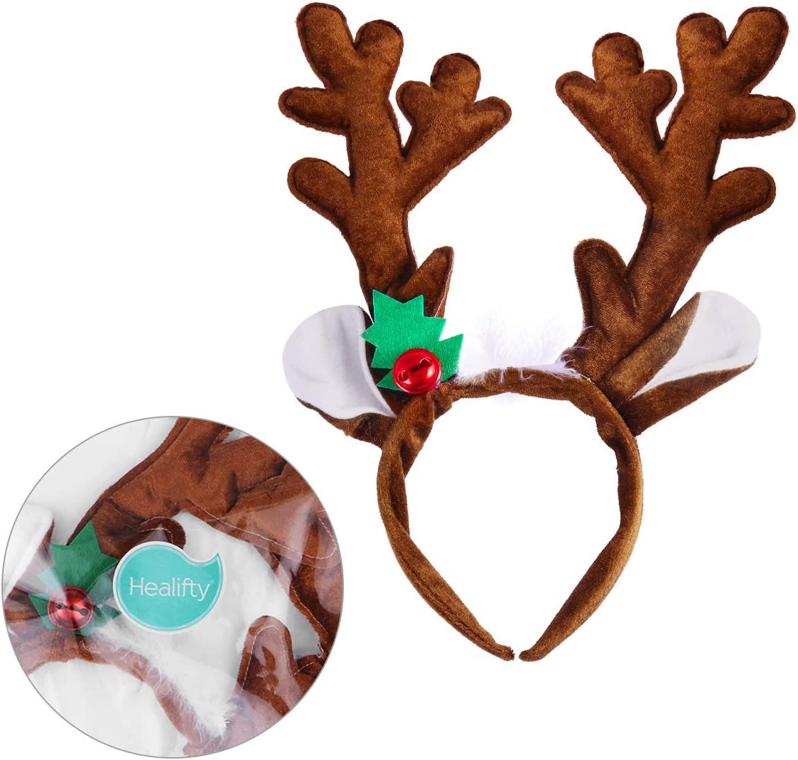 Goldene Glocke Haarb/änder Stirnband f/ür Karneval Geburtstagsparty Cosplay Baby Kinder Weihnachten Haarreif M/ädchen Blumen Geweihe Kost/üm Haarband Rentier mit Ohren und Bl/üten Rentiergeweih