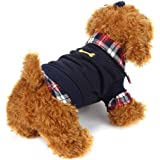 Voberry Dog Cat Grid Sweater Puppy Warm T-Shirt Pet Clothes POLO Shirt Dog Coat