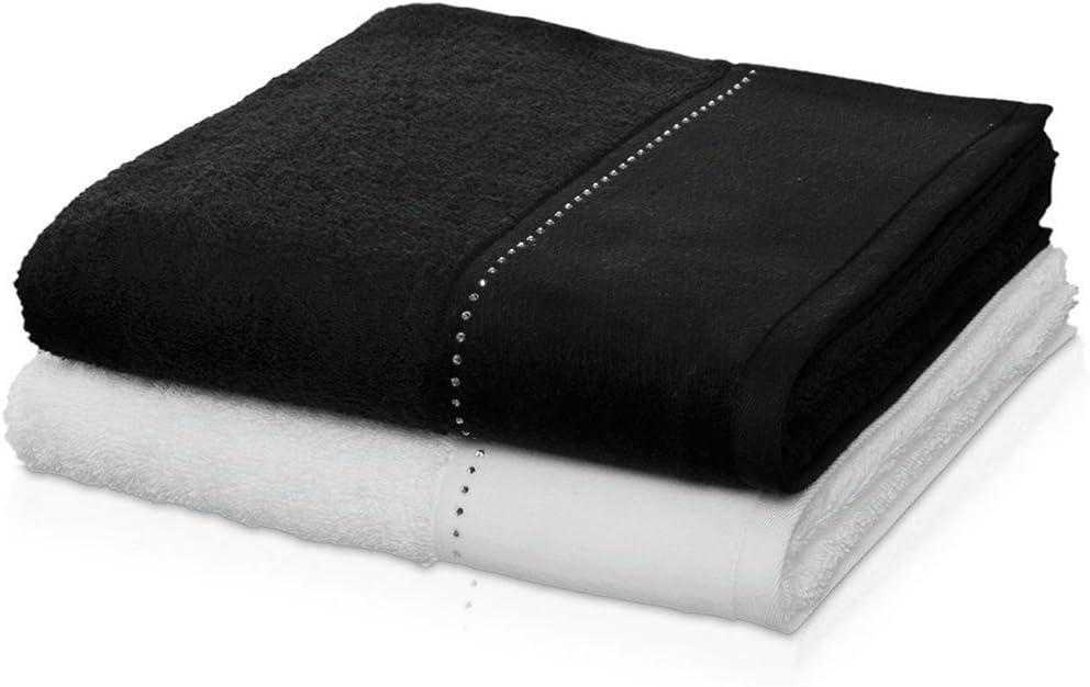 100/% Coton Fabriqu/é en Allemagne orn/ées de cristaux Swarovski ou Noir M/ÖVE Crystal Collection Serviette d/'invit/é  30 x 50 cm Black