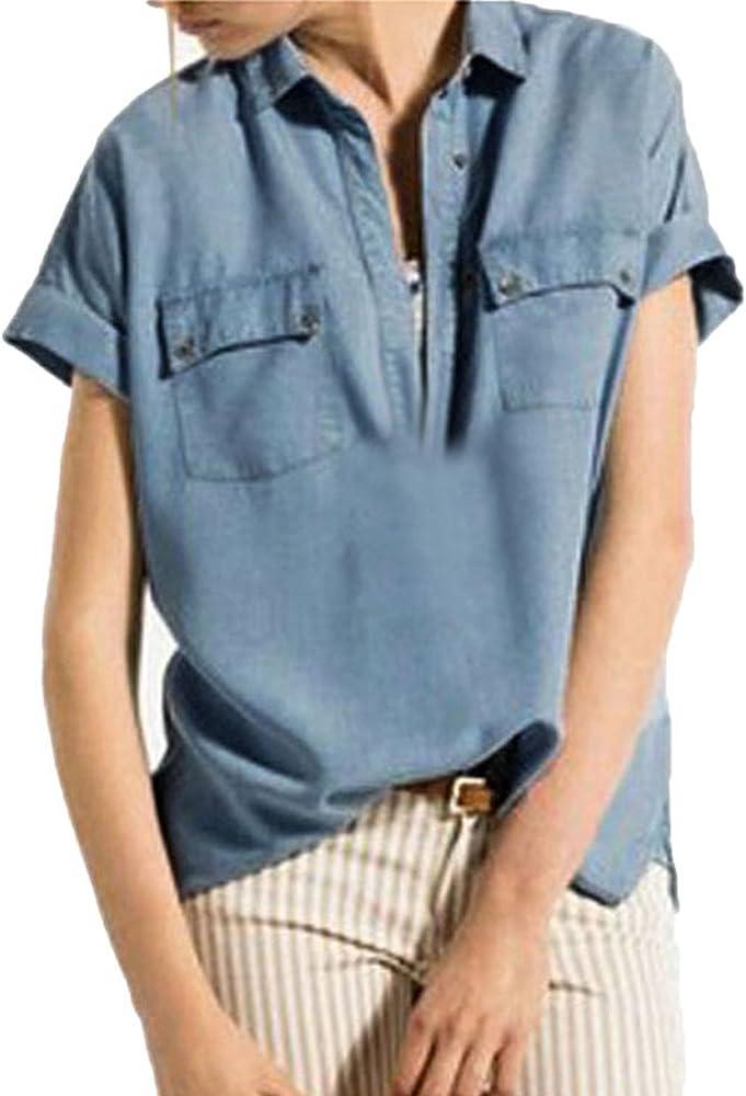 Zanzea Mujer Camisa en Denim de manga corta Casual Jean Pullovers Top Shirt Blusa Camisetas botones Azul azul: Amazon.es: Ropa y accesorios