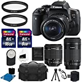 Canon EOS Rebel T6i 24.2 MP EF-S Digital SLR Camera with Canon EF-S 18-55mm f/3.5-5.6 STM Zoom Lens + Canon EF-S 55-250mm f/4-5.6 IS STM Lens + Case + UV Filter + 24GB Complete Deluxe Accessory Bundle