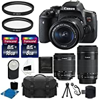 Canon EOS Rebel T6i 24.2 MP EF-S Digital SLR Camera with Canon EF-S 18-55mm f/3.5-5.6 STM Zoom Lens + Canon EF-S 55-250mm f/4-5.6 IS STM Lens + Case + UV Filter + 24GB Complete Deluxe Accessory Bundle Review Review Image