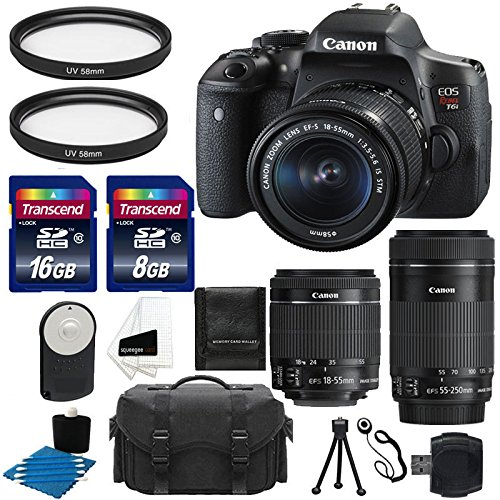 Canon EOS Rebel T6i 24.2 MP EF-S Digital SLR Camera with Canon EF-S 18-55mm f/3.5-5.6 STM Zoom Lens + Canon EF-S 55-250mm f/4-5.6 IS STM Lens + Case + UV Filter + 24GB Complete Deluxe Accessory Bundle For Sale
