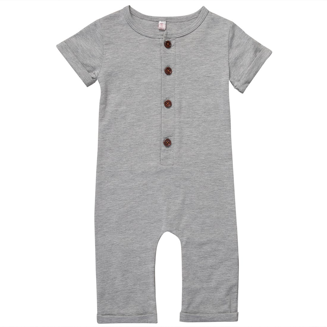 Gaono Infant Boys Black/Grey Button Up Romper Short Sleeve Basic Romper Coveralls