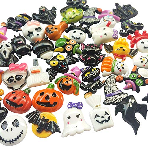 Chenkou Craft Ramdom 50pcs Mix Lots Resin Flatback Flat Back Halloween Craft Embellishment Wizard Pumpkin Lantern Ghost Spider Skull Castle]()