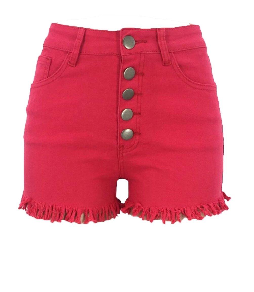 Jaycargogo Women Denim Shorts High Waist Jeans Stretch Washed Hot Short Pants