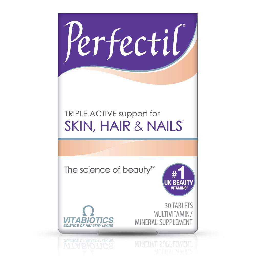 Vitabiotics Perfectil Triple-Active Beauty Multivitamin | Skin, Nail, and Hair Vitamins | Hair Health & Growth, Nail Strength, and Skin Support Formula | Vitamin D, Vitamin E, Collagen, Biotin, and More