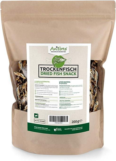AniForte Pescado seco para perros 200g - Golosinas naturales para perros, ácidos grasos Omega 3, comida para perros, espadín y carne seca, envase ...