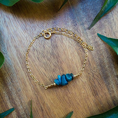 Apatite Bead Bar Crystal Bracelet in 14k Gold Fill 14k Gold Fill Crystal