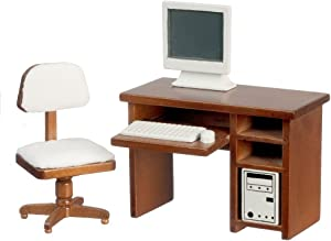 Melody Jane Dollhouse Walnut Computer Desk & Chair Miniature Study Office Furniture Set