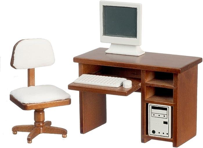 Melody Jane Dollhouse Walnut Computer Desk & Chair Miniature Study Office Furniture Set