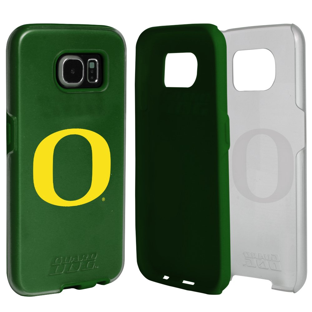 Oregon Ducks Clear Hybrid Case for Samsung Galaxy S7 with Green Insert and Guard Glass Screen Protector