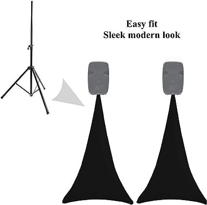 colore nero per treppiedi in lycra 2 supporti per altoparlanti elasticizzati in spandex su un lato