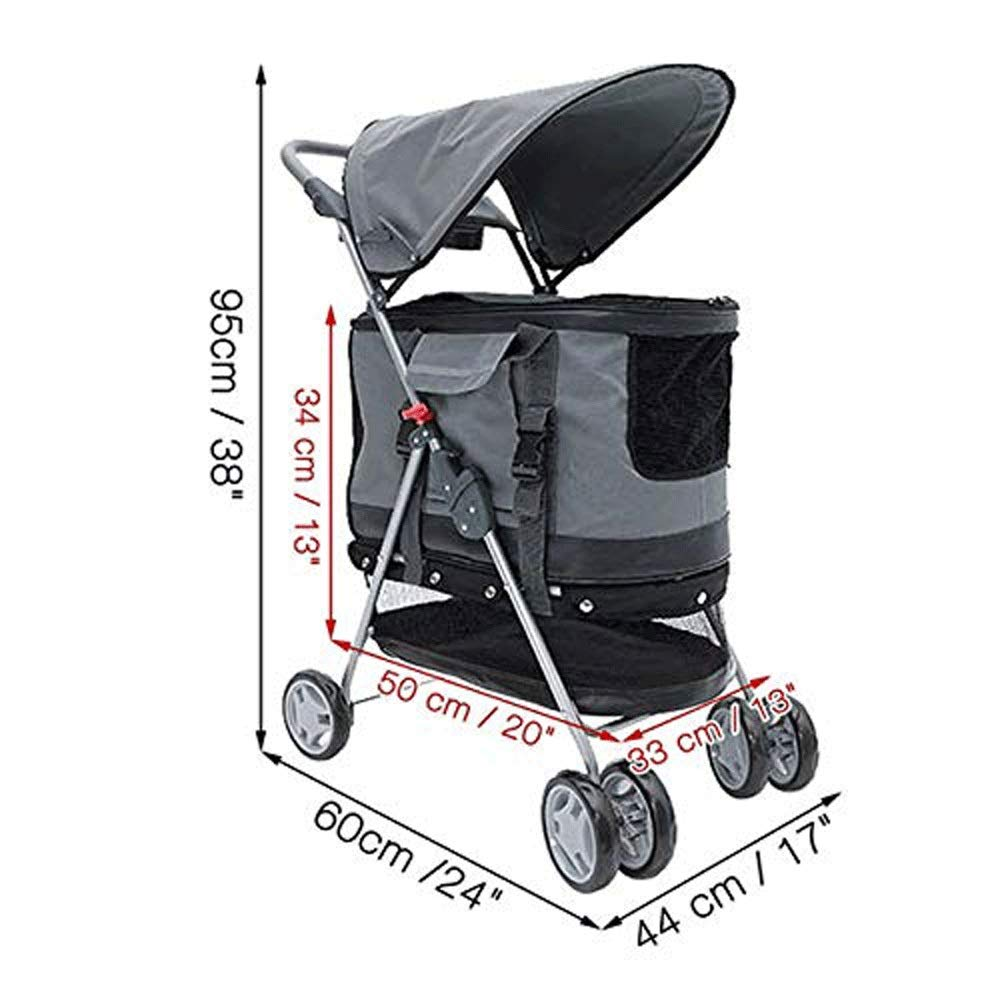 C TYT 4 Wheel Portable Folding Pet Stroller Detachable Pet Bag Stroller Small Cat Puppy Puppies Jogging Travel Portable Dog Cart (color   C)
