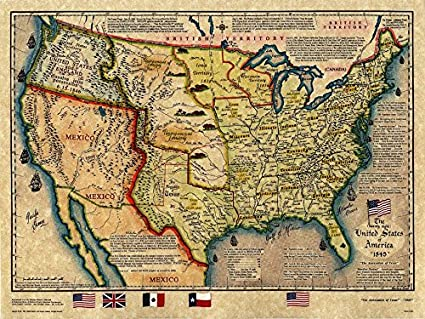 Amazon.com : United States and Texas 1845 Old Historical Map, 12\