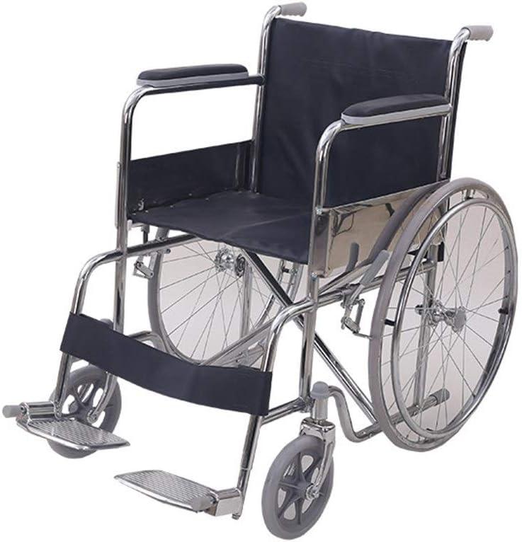 ZXOVNQXZ-54 Sillas de Ruedas autopropulsadas Ultra Ligero Plegable Silla de Ruedas autopropulsada - Correas - ABS Antideslizante - Doble Rumbo descompresión Diseño
