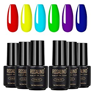 Pcak of 6 Personality Neon Collection Gel Nail Polish Kit,Neon Bright Red Yellow Light Blue Green Purple Dark Blue Gel Nail Colors Soak Off UV LED Requird Nail Salon Home Manicure Gel Nail Kit