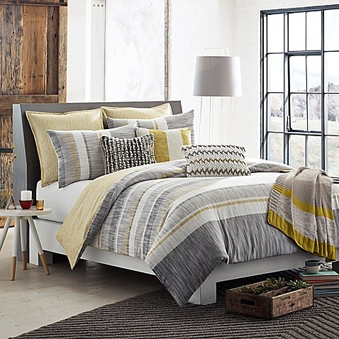 Kas Australia Logan King Duvet Cover Set, Grey Yellow White Striped