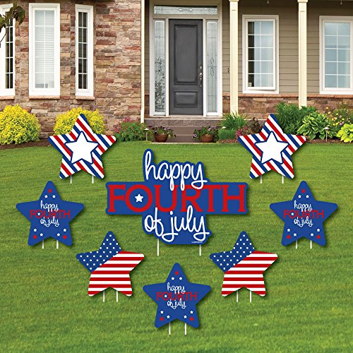 (4th of July - Yard Sign & Outdoor Lawn Decorations - Independence Day Party Yard Signs - Set of)