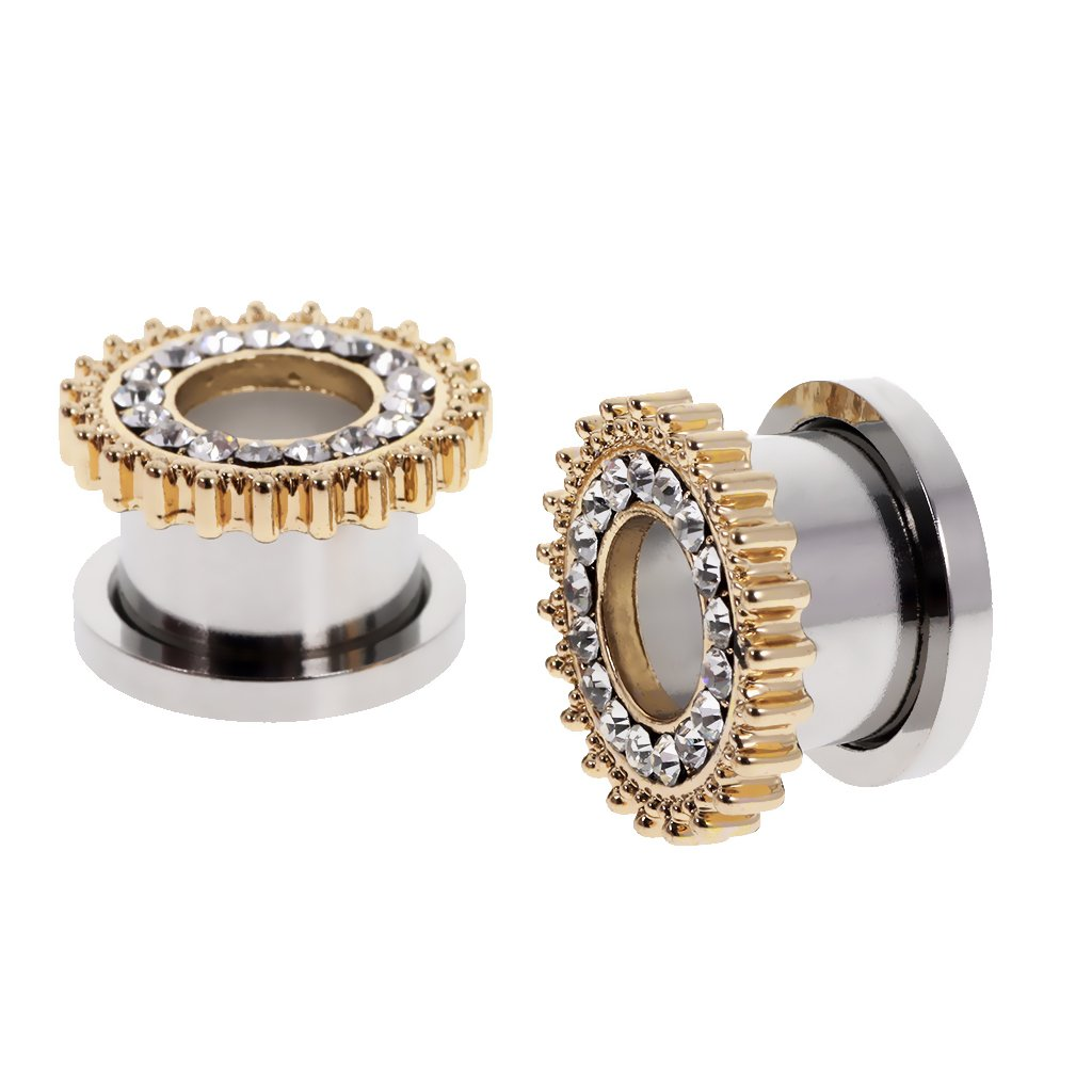MonkeyJack 1 Pair Crystal Rhinestone Stainless Steel Screw Ear Gauges Flesh Tunnels Ear Plug Gold-10mm