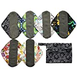 7pcs Set 1pc Mini Wet Bag +6pcs 8 Inch Charcoal Bamboo Mama Cloth/ Menstrual Pads/ Reusable Sanitary Pads / Panty Liners