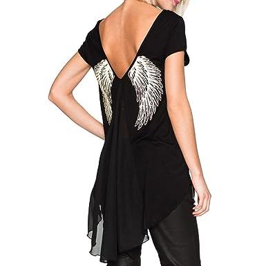 FAMILIZO Camisetas Mujer Verano Blusa Mujer Elegante Negras Camisetas Mujer Largas Manga Corta Algodón Camisetas Mujer