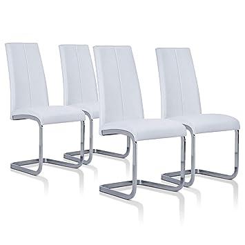 SuenosZzz - Pack sillas (x4) Ceres Color Blanco, para Comedor o Salon| Tapizado en Piel Sintetica | Sillas de Patas metalicas | Conjunto de sillas ...