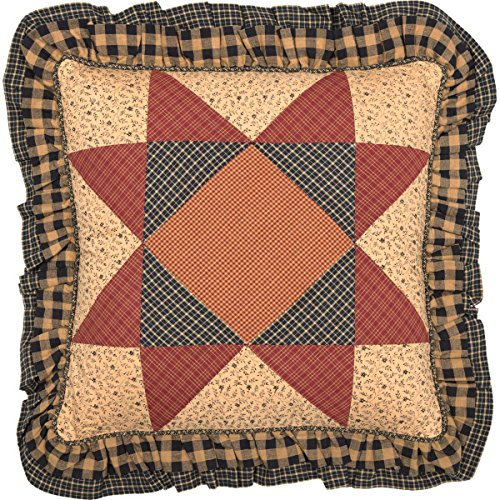 VHC Brands Natural Tan Primitive Classic Country Decor Maisie 18x18 Patchwork Pillow ()