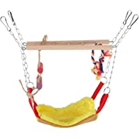 GLOGLOW Loro Escalera Flexible, Colorido Mascotas Aves Escalada Juguete Colgante Paso Loro Escalera Columpio Puente Jaula de pájaros Accesorios Decorativos(Amarillo)
