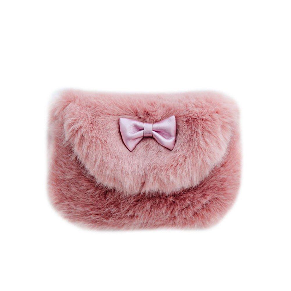 Youkara carino pelliccia Bowknot portamonete borse, borse a tracolla peluche imitazione borsa messenger bag per bambine e bambini bambini