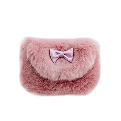 doitsa 1 x bolsas de peluche Mignons – Bolso bandolera (piel Monedero bebé bolsa de bola de pelo de los niños 8 17x14cm