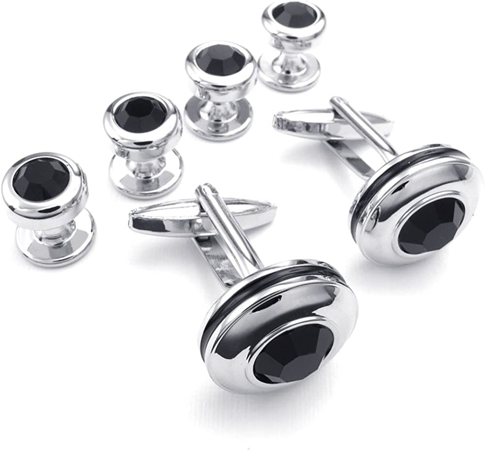 Sterling silver cubic zirconia curved Cufflinks Shirt Dress Studs Gift Set