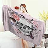 Anhounine 100% microfiber Skulls Decorations Collection Skull and Blooms Catholic Popular Ceremony Celebrating Artistic Vintage Design Washable Large Bath Towel 63''x31.5'' Salmon White