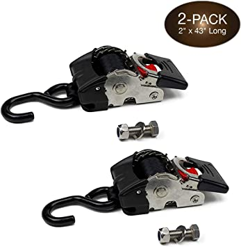 2 Auto Retract NO-RATCHETING Marine Transom Ratchet Strap Boat TieDowns 1 x 6 Retractable SELF-CONTAINED Compact Bolt-on Cargo Straps for Boats Docks: Tight /& Secure Pickups Trailers Bolt-Down
