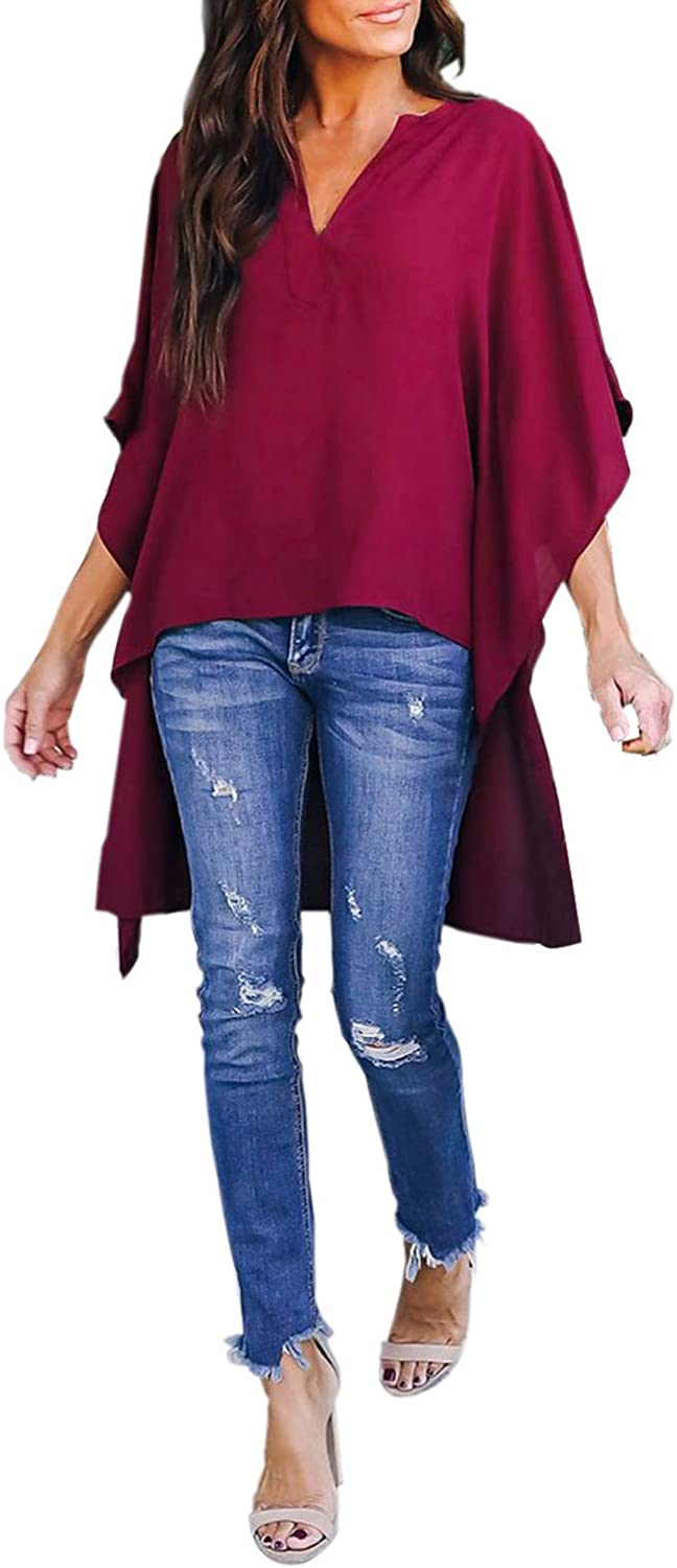 Happy Sailed Women Stylish V Neck Chiffon Tops Casual Solid Blouse Loose High Low Shirts S-2XL