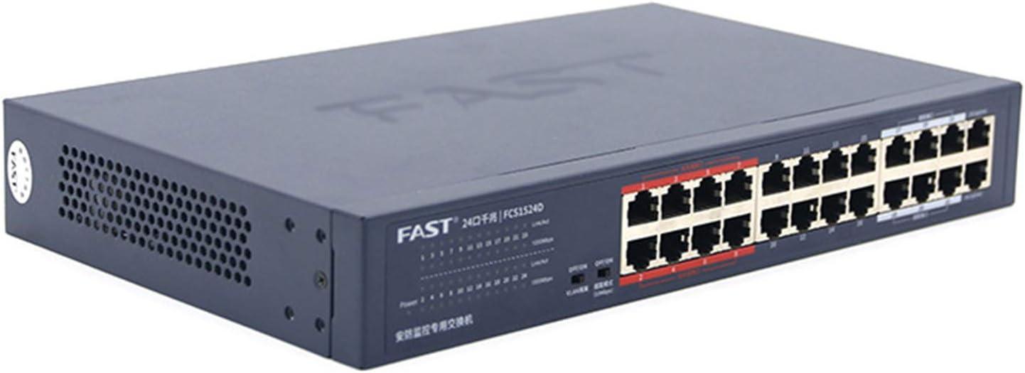Conmutador inteligente Gigabit completo de 24 puertos, conmutador Ethernet dedicado de 19 pulgadas para monitoreo de seguridad, divisor de concentrador, plug and play, modo de aislamiento de VLAN