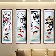 Flower Fairy Hand painted peony flower Oriental Ancient Asian Watercolor Painting Wall Decoration Father's Day Mother's Day Gift Home decor wall Four Feet With wood frame peony Oriental