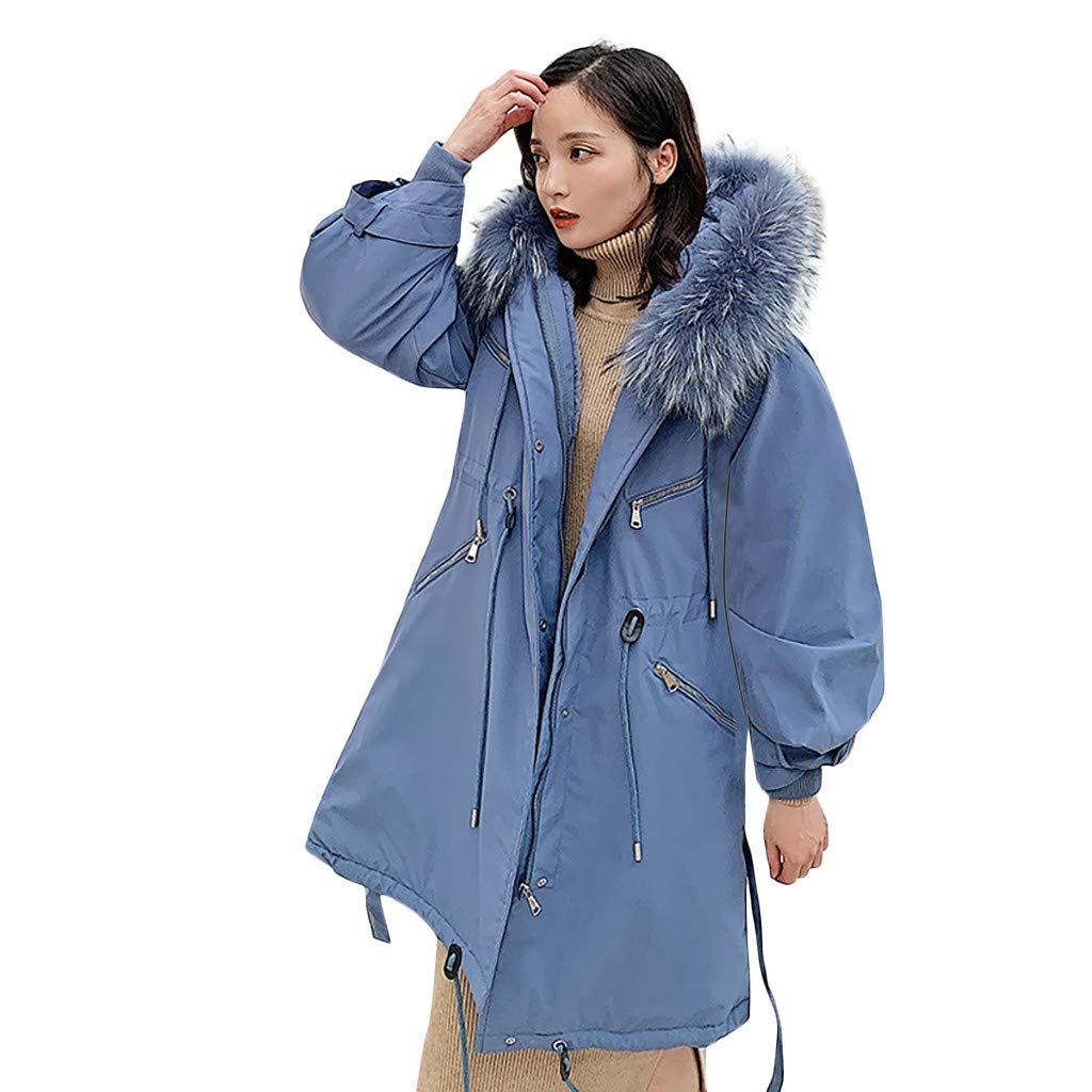 Opinionated Women's Winter Jacket Mid Length Warm Thicken Coat with Fur Hood Collar Strap Pocket Long Sleeve Cotton Suit Blue by Opinionated