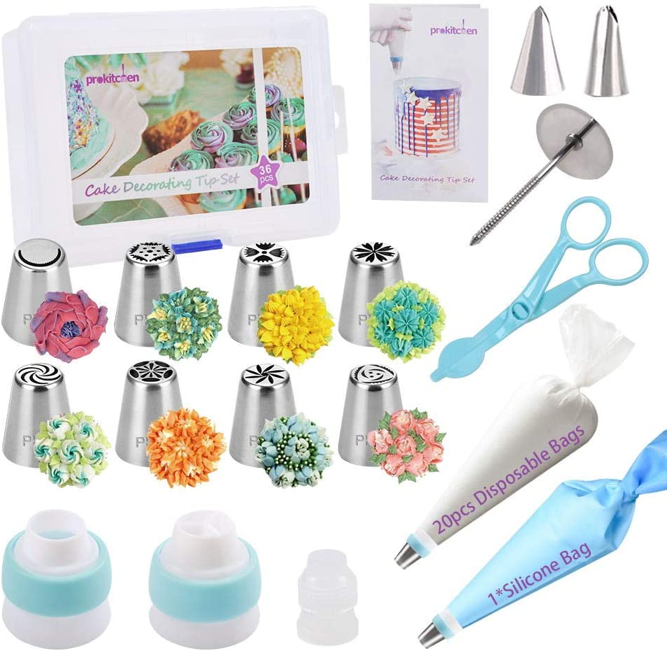 Amazon Com Prokitchen Russian Piping Tips Set 38pcs Cake Decorating Kit With Storage Case 8 Numbered Icing Nozzles 2 Leaf Tips 3 Couplers 20 Icing Bags 1 Pastry Bag User Guide Kitchen Dining