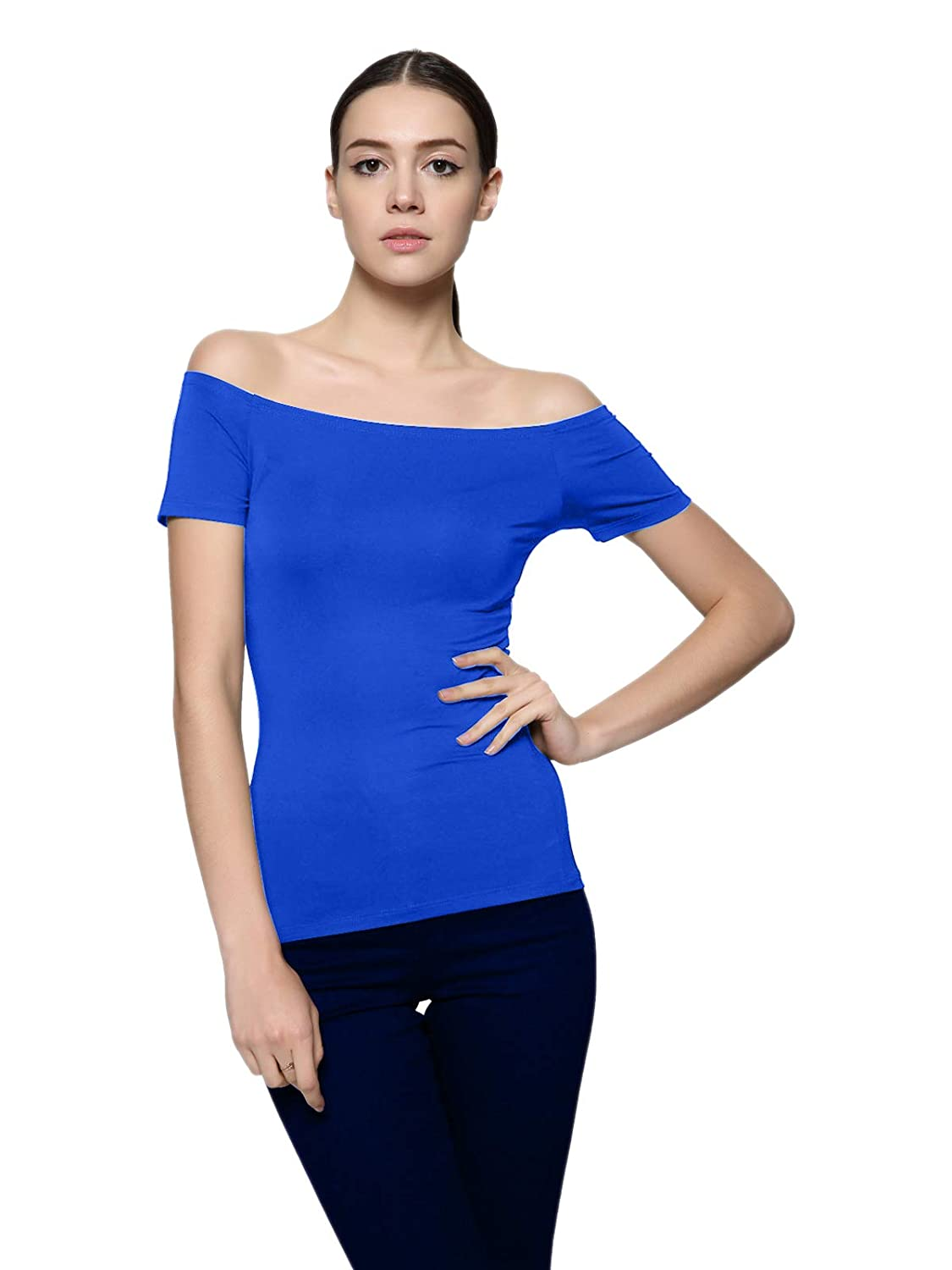 bluee Maggie Tang Short Sleeve Trendy Fitted Off Shoulder Modal Blouse Top Tshirt