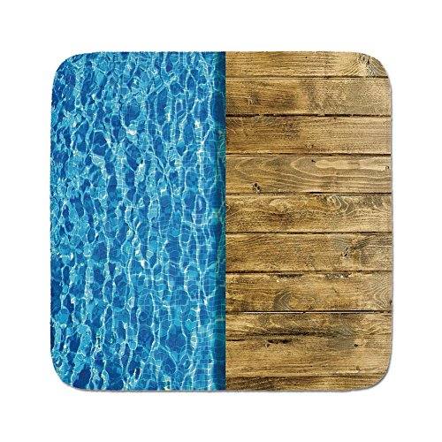 Cozy Seat Protector Pads Cushion Area Rug,Aqua,Summer House Seem Swimming Pool with Wooden Seem Deck Image Decorative,Dark Blue White and Caramel Brown,Easy to Use on Any Surface