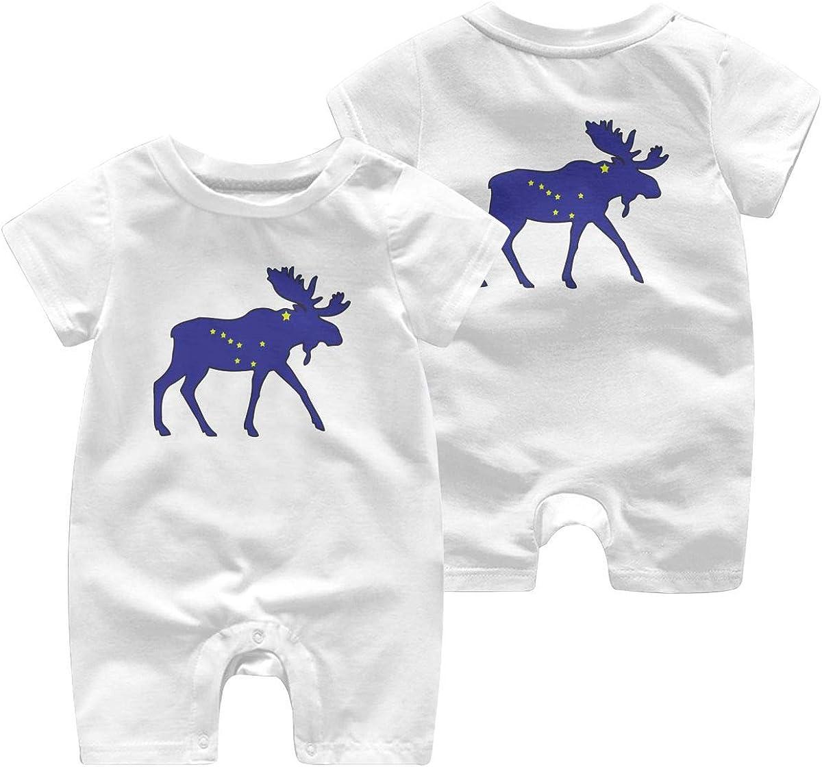 Mri-le1 Toddler Baby Boy Girl Short Sleeved Coveralls Alaska Flag Moose Baby Clothes