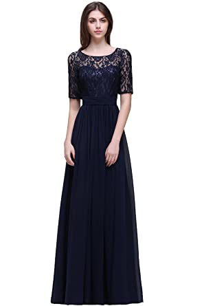 38a963962b40 MisShow Womens Navy Lace Chiffon Bridesmaid Dress Long Backless Prom Evening  Gowns