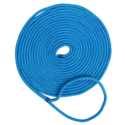 Amarine Made 3/4 Inch 25 FT Double Braid Nylon Dockline Dock Line Mooring Rope Double Braided Dock Line (Blue)