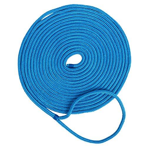 Amarine-made 1/2 Inch 50 FT Double Braid Nylon Dockline Dock Line Mooring Rope Double Braided Dock Line (Blue)