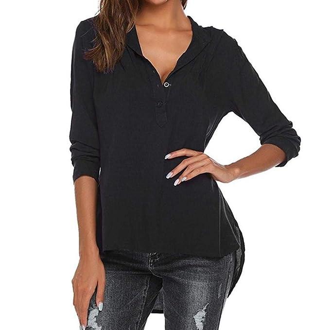 Damen Elegante Oberteile Langarm Shirt V-Ausschnitt T-Shirt Hemdbluse Top  mit Falten Lose
